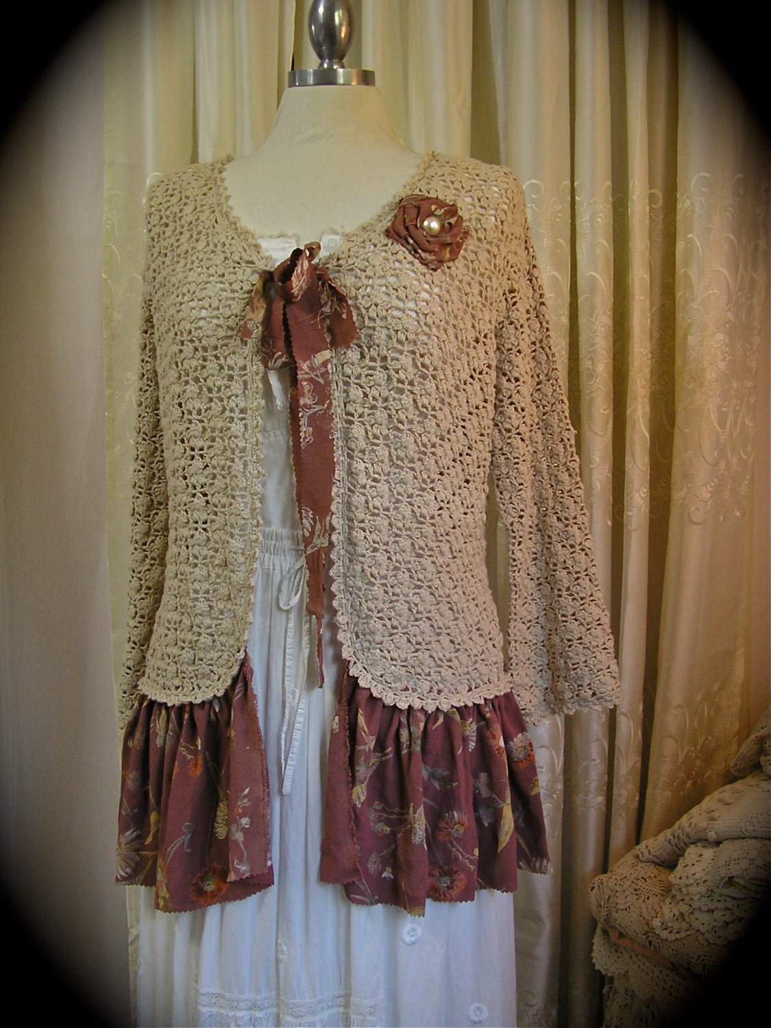 Shabby bohemian sweater vintage cotton crochet upcycled for Couture clothing