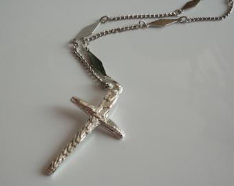 Sterling Silver Cross Necklace Hand Cast Cuttlebone Cast Old Rugged Cross Artisan Hand Made