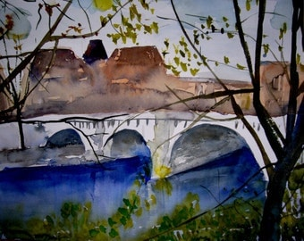 Autumn in Paris. Original watercolor painting.
