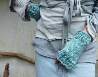 Hushinish Mitts, hand knitted lace edging pure merino wool fingerless gloves, all colors