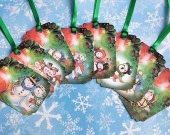 Vintage Retro Snowmen Gift Tags set of 8 No 509