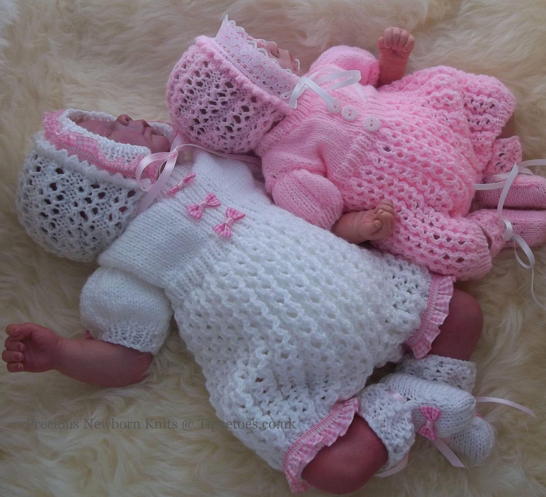 Reborn Baby Knitting Patterns : Baby Knitting Pattern Baby Girls or Reborn Dolls Digital
