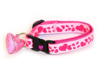 Heart Cat Collar - Pink Hearts on Pink - Small Cat / Kitten Size or Large Size