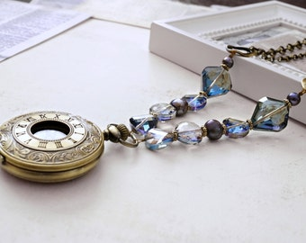 Purple and Blue Lariat Pocket Watch Necklace, Steampunk Necklace, Statement Necklace