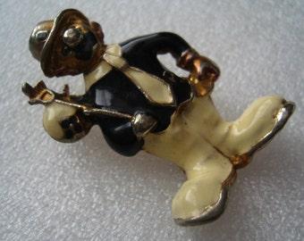 Vintage 1950's enamel clown pin brooch no. 3