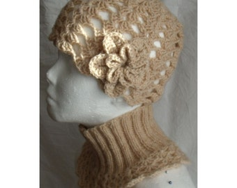 Hat and neckwarmer set  knit and crochet warm lace natural beige cappuccino