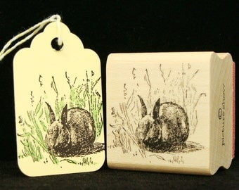 rabbit in the grass rubber stamp