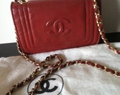Chanel Vintage Red Leather Chain Strap Mini Flap Bag