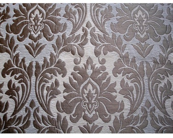 Ivory Gold Chenille Damask Curtain Fabric Upholstery Fabric Curtain Panels Drapery Fabric Window