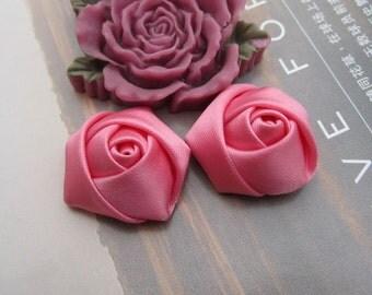 Roses,Satin Rose, satin Flower, 12PCS Handmade fabric Rose Flowers 20x12mm watermelon