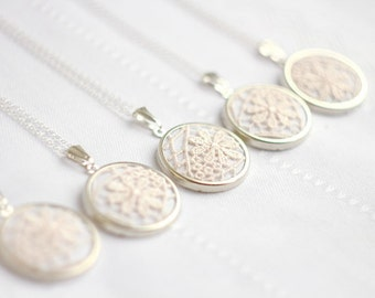 Bridesmaid jewelry - Lace necklace with ivory lace l003