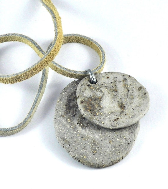 Ceramic Necklace Double Disc Pendant Handmade Jewelry on Suede Thong  Organic Tones