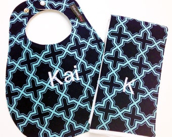 Monogrammed Bib and Burp Cloth set - Navy Blue and Aqua - Personalized Bib - Baby Gift Set - Embroidered Baby Bib - Baby Shower Gift