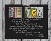 """Be You Letter Art Print - Inspirational Art / Maya Angelou Quote - 11 x 14"""" with Color Letter Photos"""
