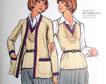 Vintage Cardigan and Vest Sewing Pattern Butterick 6970 Size 10 Bust 32.5 UNCUT