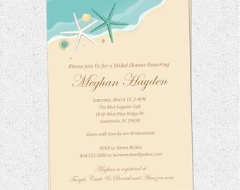 Beach Invitation Printable, Bridal Shower, Birthday, Sand Sea Surf, Starfish, Shells, Seashells, Elegant, DIY Digital File