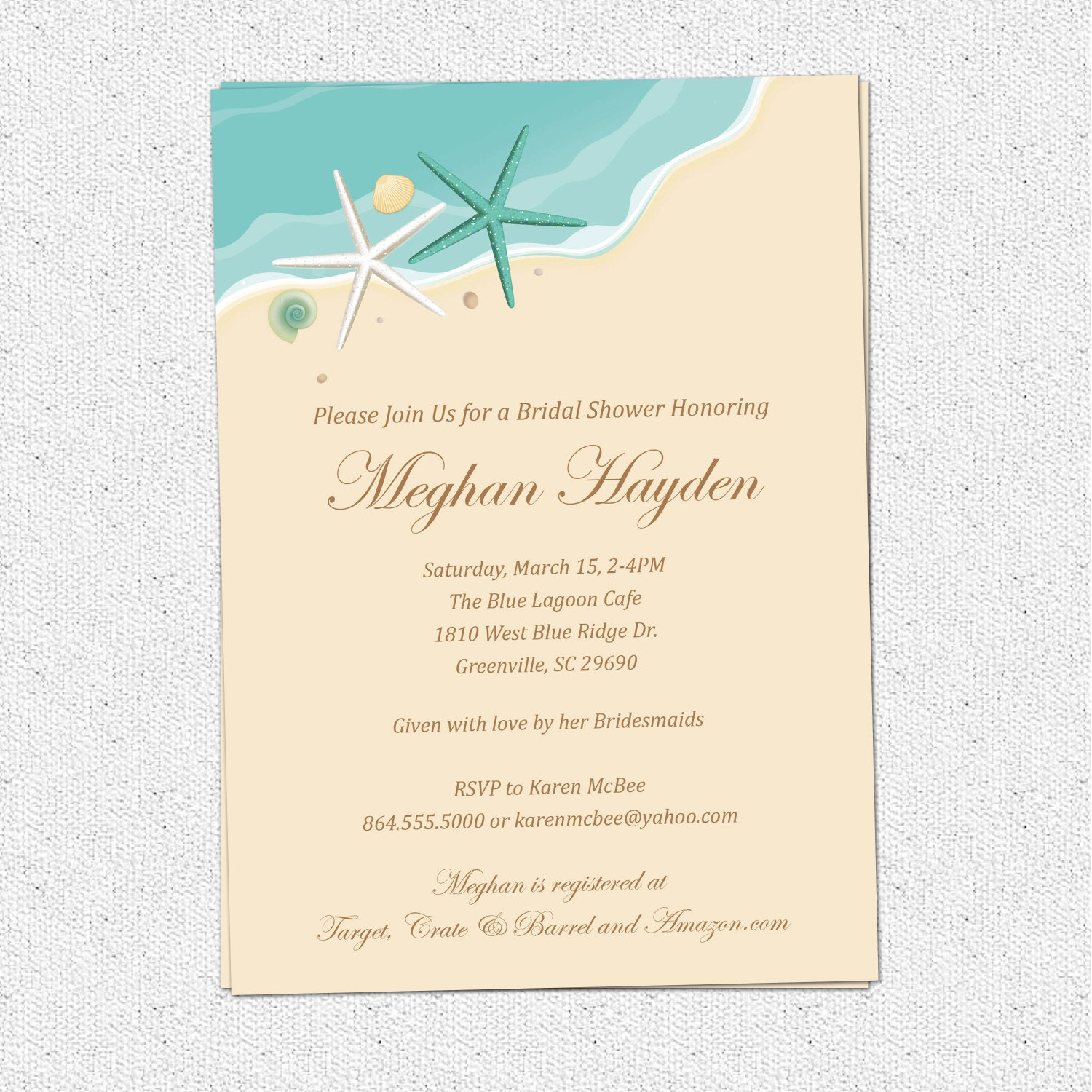 Beach Theme Card Stock: Beach Invitation Printable Bridal Shower Birthday Sand Sea