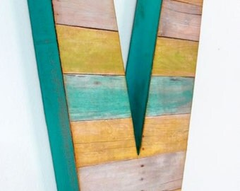 "Reclaimed Wood Look - 12"" Large Wall Letter - Custom"