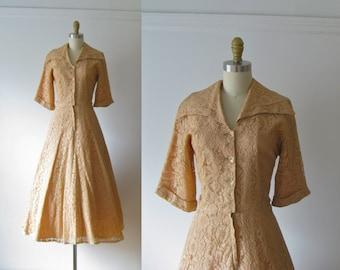 Dusty Peach / 50s dress / vintage 1950s dress