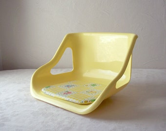 vintage mid century baby seat - yellow pod chair for child