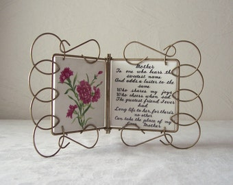 vintage metal frame with note to mother on ceramic tile