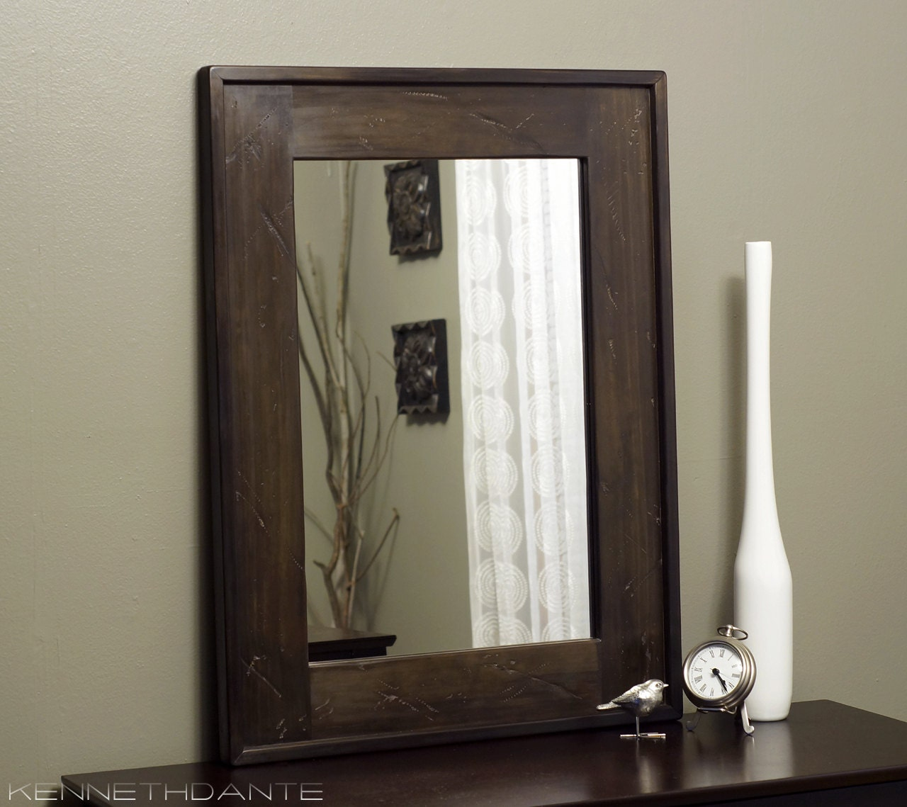 dark brown bathroom mirror distressed wood mirror brown bathroom rustic by 18042 | il fullxfull.427954744 6tts
