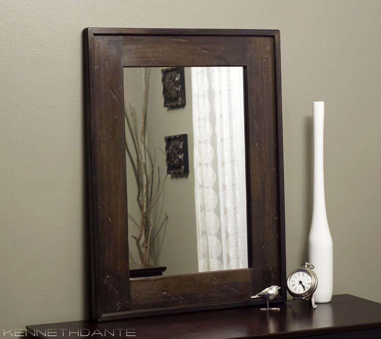 Distressed Wood Mirror Dark Brown Bathroom Rustic by KennethDante