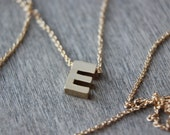 Gold E Initial Necklace - 14k Gold Filled Chain - Choose Your Length