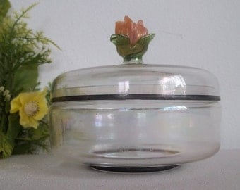 Vintage antique hand made blown glass candy or powder dish. Pinik flower top