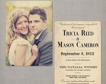 "Wedding Invitation / Wedding Invitations / Wedding Invites / Vintage Invitation / Vintage Wedding Invitation - the ""Tricia"""