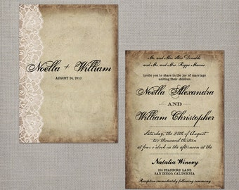 "Wedding guest invite / Wedding guest invitations / Wedding Invitation / Wedding Invites / Wedding invitation ideas  - The ""Noella"""
