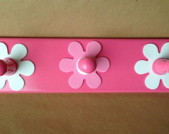 Girls pink and white flower wooden coat rack with 3 hooks