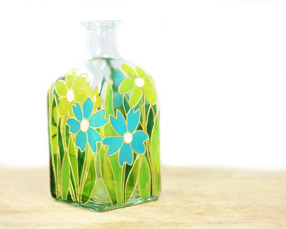 Hand Painted Glass Bottle Spring Summer Flower Botanical Design Turquoise yellow green kitchen decor home decor -Decorative Glass Art