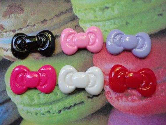 Kawaii cute bow cabochon decoden DIY charm  6 pcs---US SELLER