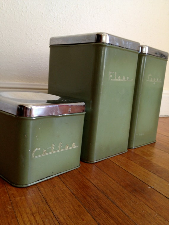 vintage kitchen canister set vintage green chrome metal kitchen canister set by willowfinds 22585