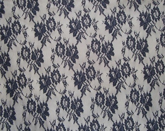 SPECIAL--Dark Navy Allover Lightweight Floral Lace Fabric--One Yard