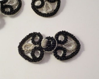 Small Black Beaded and Metallic Silver Frog Closure--One Piece