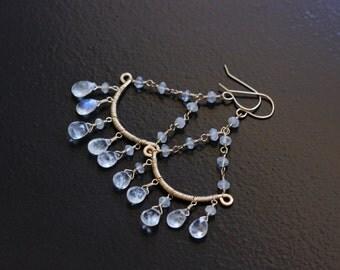 Rainbow Moonstone Chandelier Earrings 14k Gold Filled Wire Wrapped June Birthstone Gemstone - Anastasia