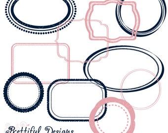 Digital Frame Clip Art Navy Pink Commercial Use
