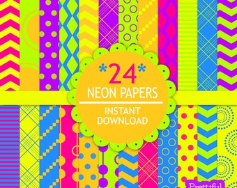 Bright Digital Paper Pack  Neon Papers for Commercial Use