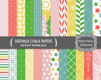 Digital Rainbow Paper Pack  - Personal and Commercial Use - Sidewalk Chalk