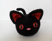 Furrball Kitty Cat by Lilac's Lovables - Black and Red with Pink Nose