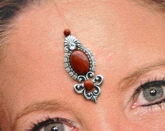 Genuine Red Jasper Bindi in Oxidized Silver