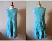 vintage 40s hand knit dress - 1940s aqua knitted dress