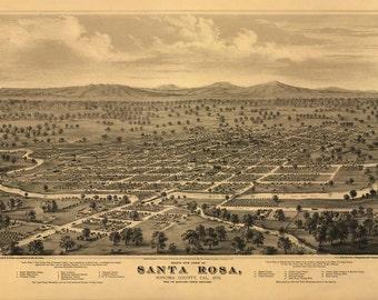 Antique Map Santa Rosa CA 1876
