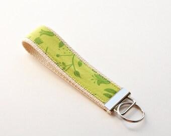 Key fob Key chain fabric wristlet - Green on green flowers