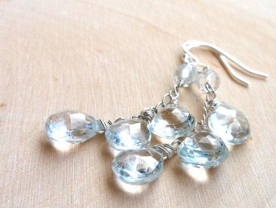 Dangle Blue Topaz Earrings Teardrops, Cascade earrings, Sterling Silver, December Birthday, sky blue