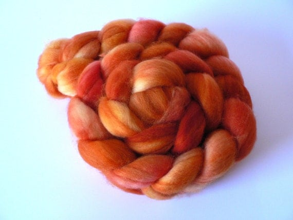 Handpainted Superwash Merino Roving- Tangerine 4oz