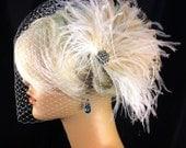Bridal Feather Fascinator, Bridal Fascinator, Bridal Headpiece, Bridal Hair Accessories, Birdcage Bridal Veil