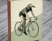 Duck Riding a Bicycle - Wood Block Art Print